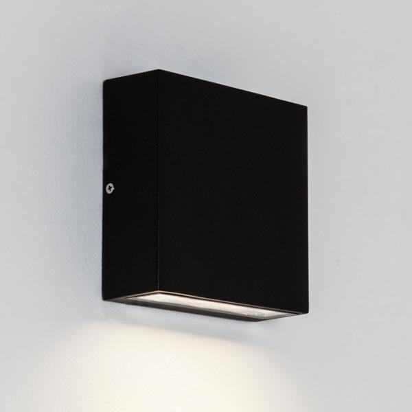 Moon Wall Light Remote Control : Astro Elis single IP54 LED rectangular outdoor wall lights down 3W E27 black Liminaires