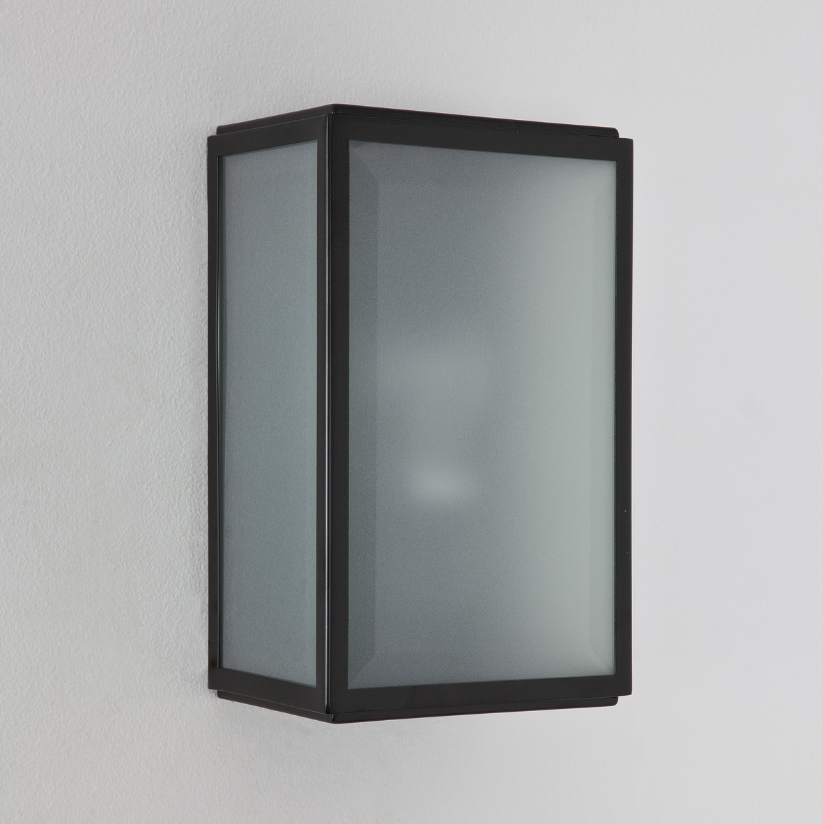 Osram External Wall Lights : Astro Homefield external frosted outdoor sensor wall light 60W E27 black nickel
