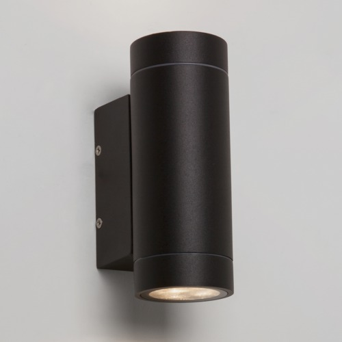 Astro Dartmouth IP54 cylindrical outdoor wall lights up down 6x1W LED black Liminaires